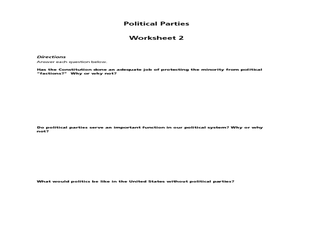 Political Parties Worksheet 10th 12th Grade Worksheet – Political Parties Worksheet