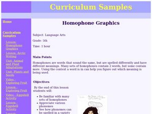 Homophone Graphics  Lesson Plan