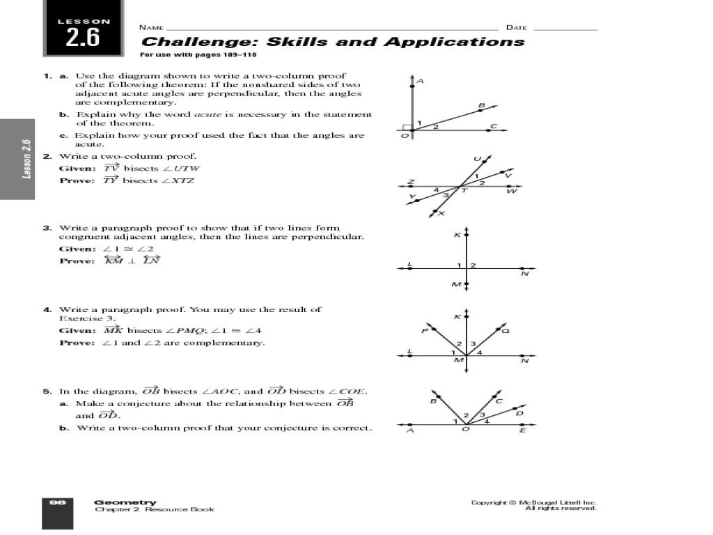 Geometric Proof and Angles Worksheet for 10th Grade | Lesson ...