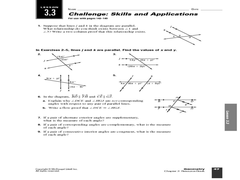 Mcdougal Littell Geometry Lesson Plans Worksheets