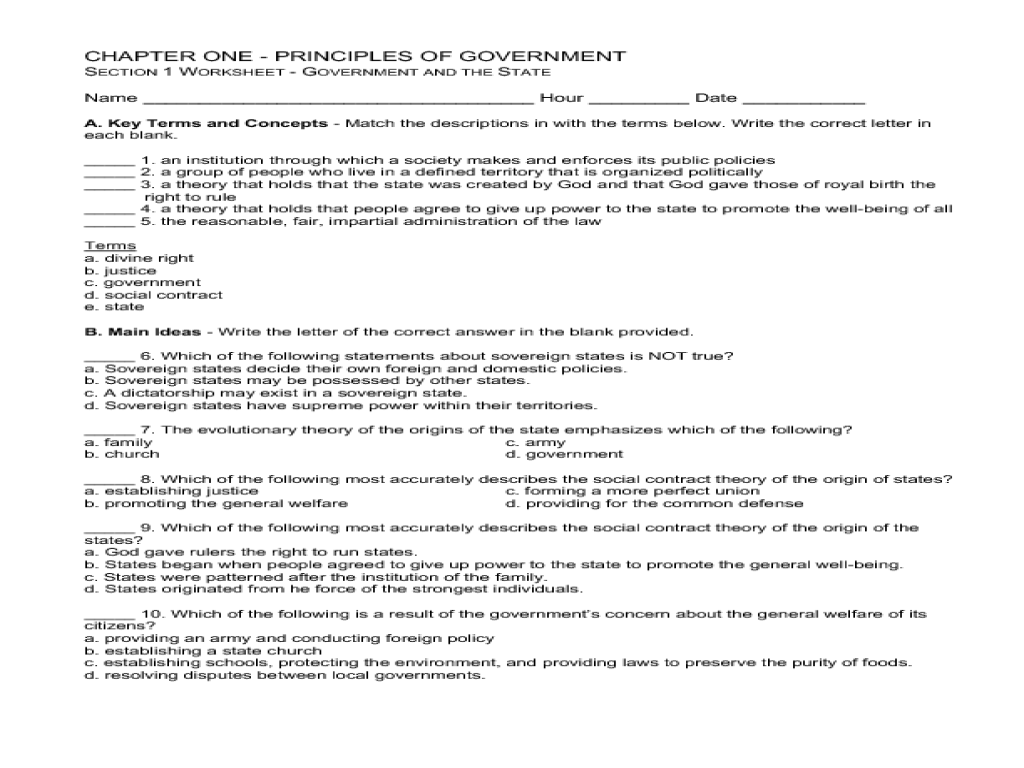 Workbooks types of government worksheets : Principles of Government Worksheet for 9th - 12th Grade | Lesson ...