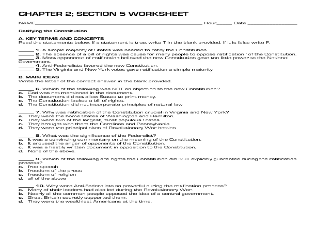 Ratifying the Constitution 8th 12th Grade Worksheet – Ratifying the Constitution Worksheet