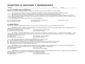 Constitutional Acts (Chapter 3) Worksheet