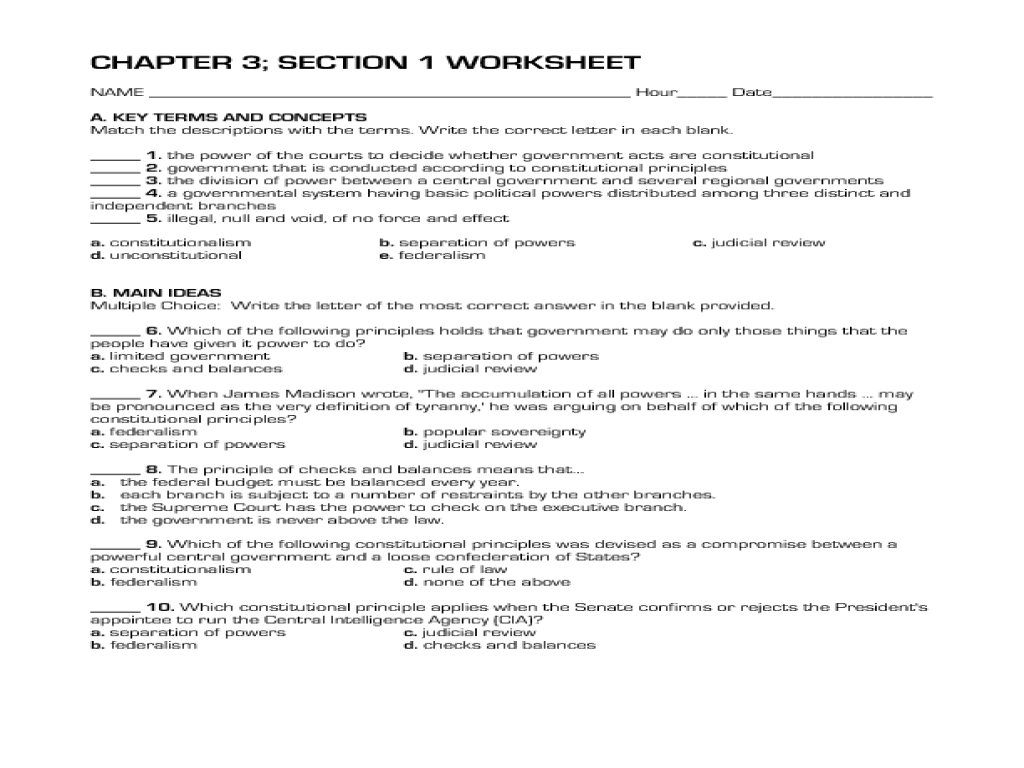 Constitutional Acts (Chapter 3) Worksheet for 10th - 12th Grade ...