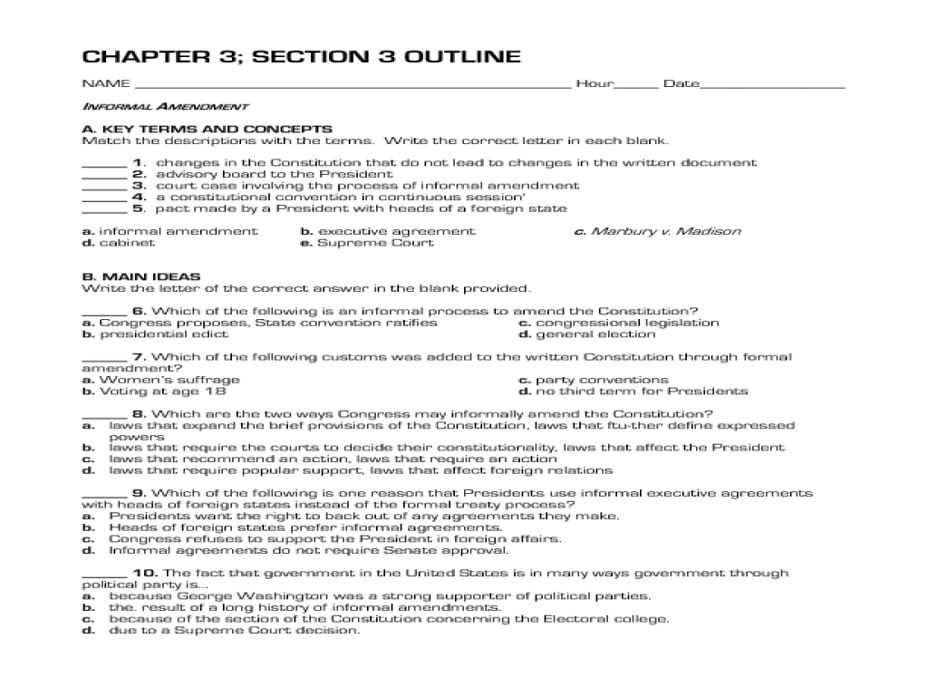 Informal Amendment 10th 12th Grade Worksheet – Constitutional Convention Worksheet