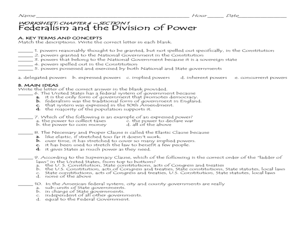 Federalism and the Division of Power Worksheet for 7th - 8th ...