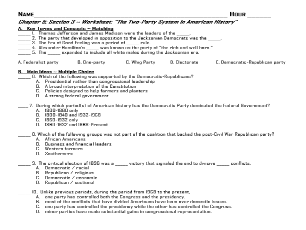 Worksheets 7th Grade Social Studies Worksheets the two party system in american history ch 5 7th 8th grade worksheet lesson planet