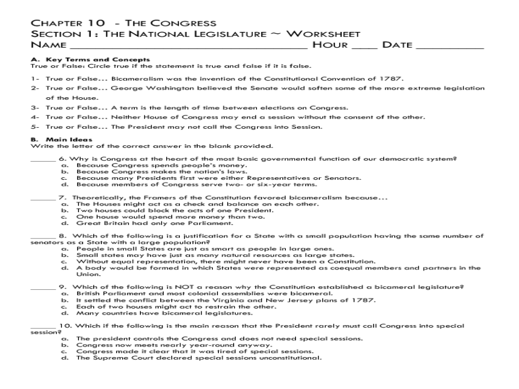 The National Legislature ch 10 8th Grade Worksheet – Constitutional Convention Worksheet
