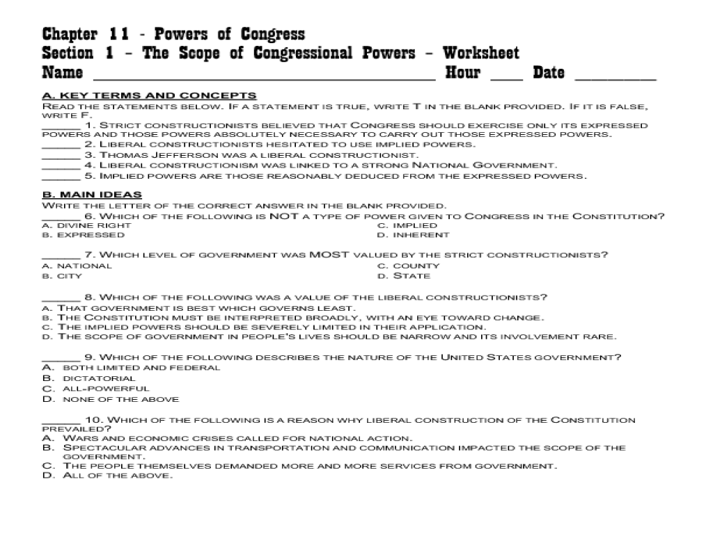 Powers Of Congress Worksheet Answers | Worksheet Resume