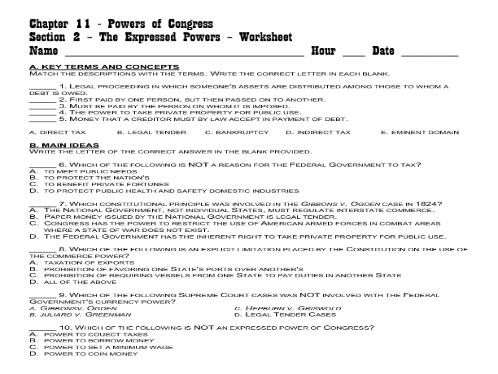 Powers of Congress 11th - 12th Grade Worksheet | Lesson Planet