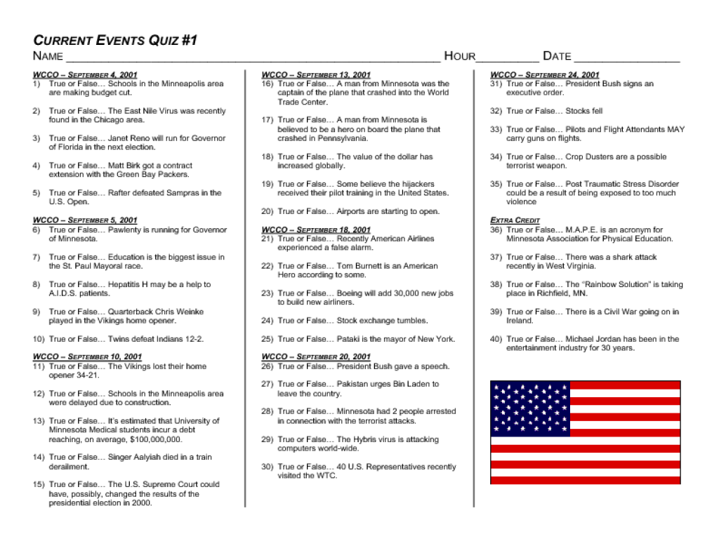 Current Event Quiz High School Worksheet For 10th Grade