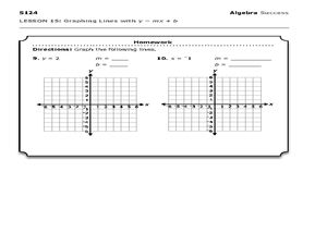 Graphing Lines with y = mx + b 8th - 9th Grade Worksheet | Lesson ...