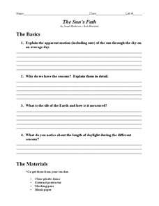 The Sun's Path Worksheet for 8th - 11th Grade | Lesson Planet