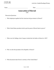 Annexation of Hawaii Lesson Plans & Worksheets Reviewed by Teachers