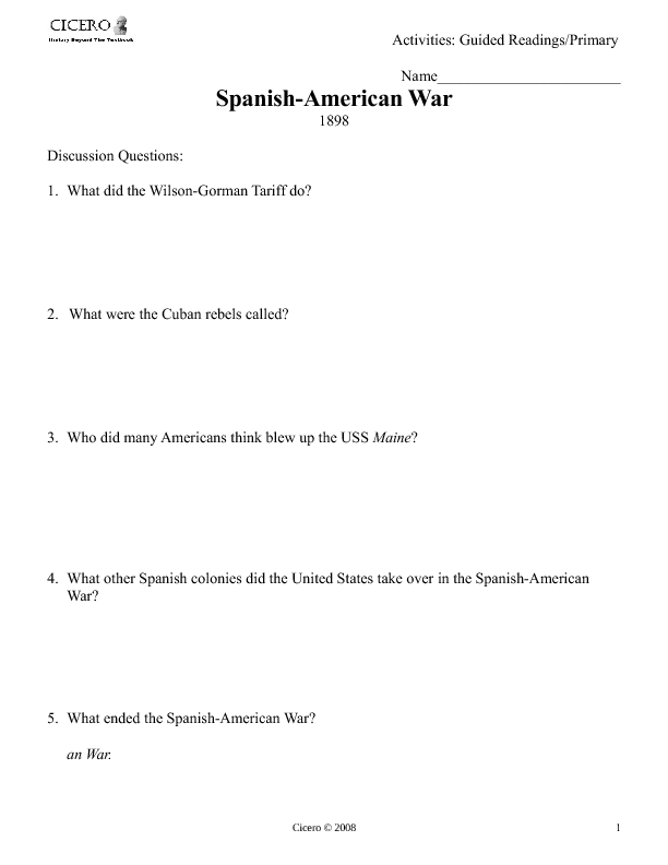 spanish american war worksheet for 8th 12th grade lesson planet. Black Bedroom Furniture Sets. Home Design Ideas