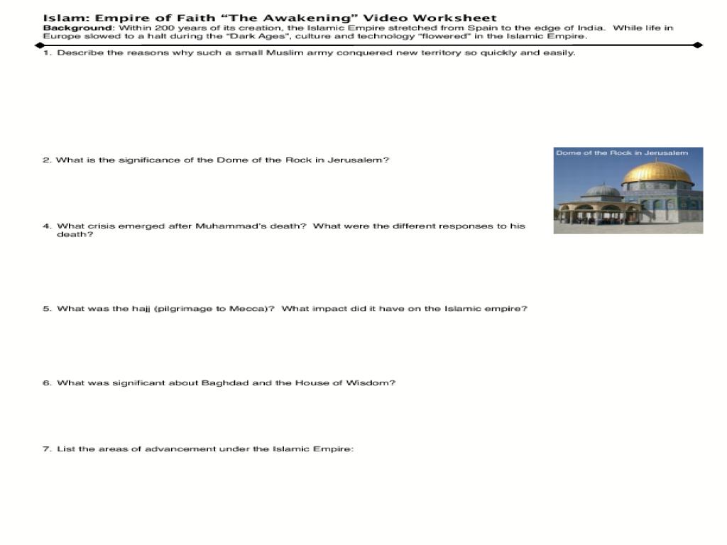 "Islam: Empire of Faith ""The Awakening"" Video Worksheet ..."