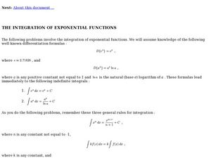 Integrals of Exponential Function Lesson Plans & Worksheets   Lesson ...