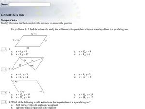 Tests for Parallelograms Multiple Choice Worksheet for 8th