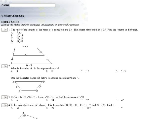Trapezoids and Kites Multiple Choice Worksheet for 9th ...