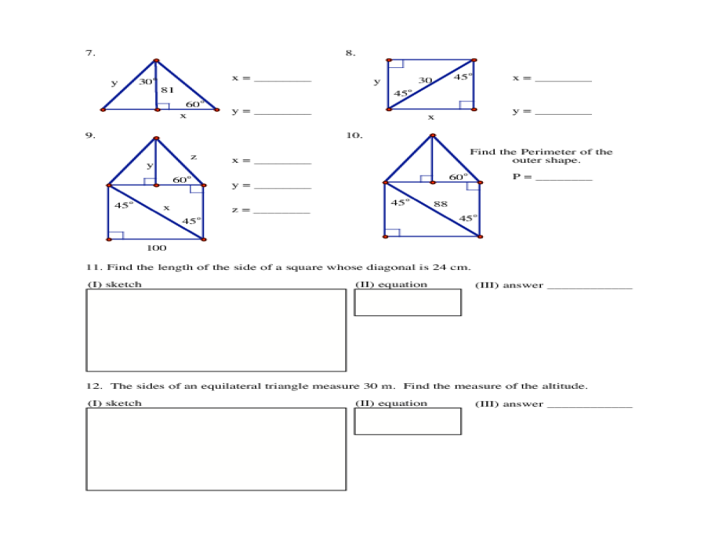 Special Right Triangles Homework Worksheet For 9th 12th