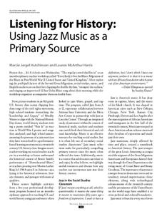 Listening for History: Using Jazz Music as a Primary Source Professional Document