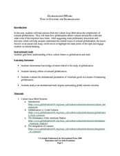 Unit on Culture and Globalization Lesson Plan