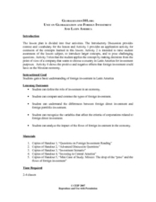 Globalization and Foreign Investment and Latin America Lesson Plan