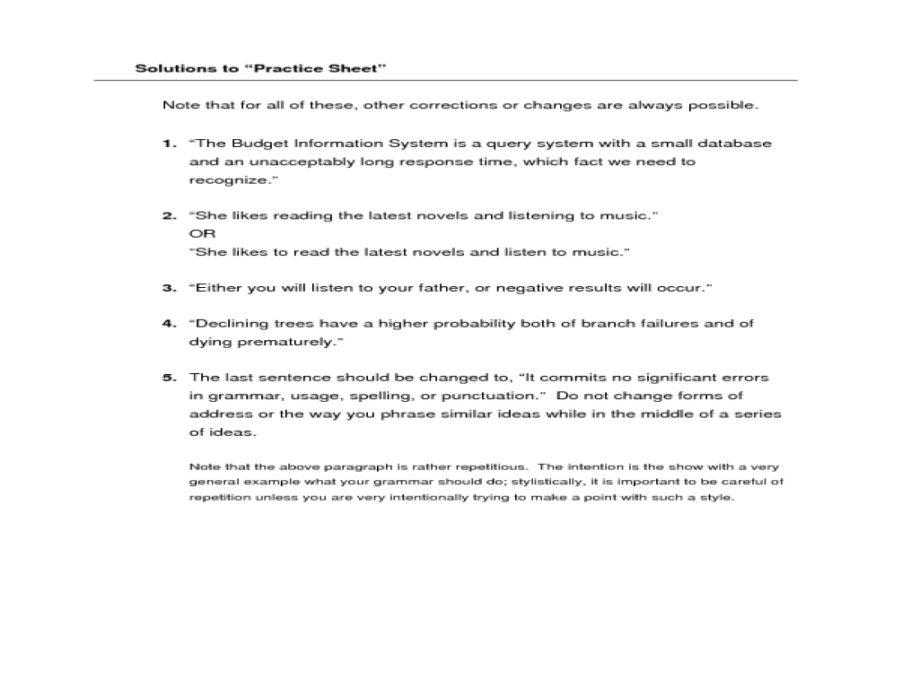 ARC Writing Lab Worksheets: Parallel Structure Worksheet for 7th ...