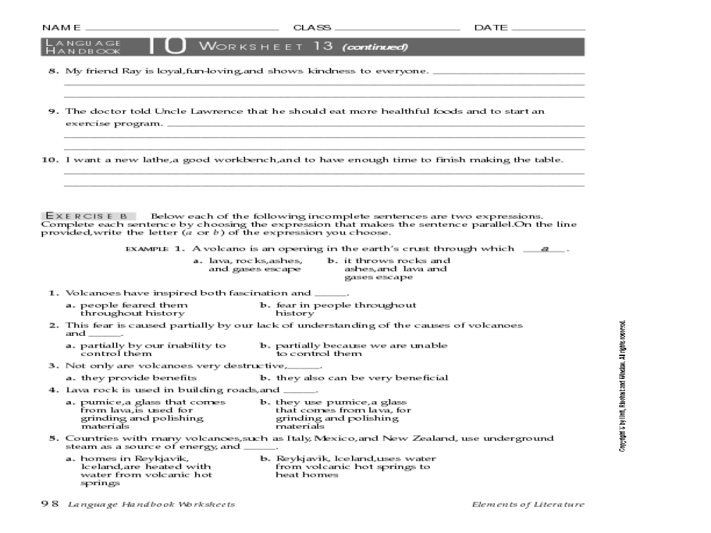 Using Parallel Structure 7th - 9th Grade Worksheet   Lesson Planet