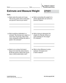 Estimate and Measure Weight Worksheet