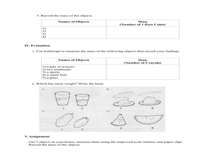 Measuring Mass Using Non-Standard Units of Measurement Lesson Plan
