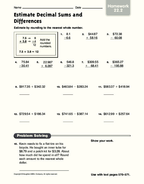 Estimate Decimal Sums and Differences Worksheet for 5th - 6th Grade ...