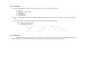 Unit of Measures used in Measuring the Area of a Triangle/Parallelogram Lesson Plan