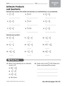 Estimate Products and Quotients: Practice Worksheet