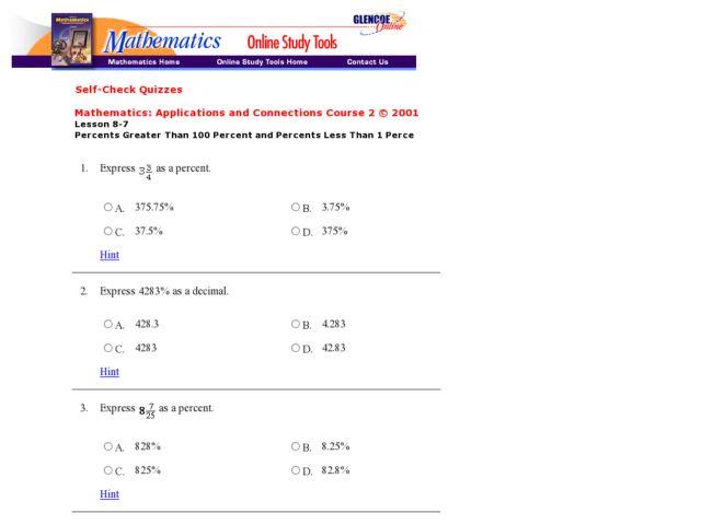 Percents Greater Than 100 Percent and Percents Less Than 1 Percent ...