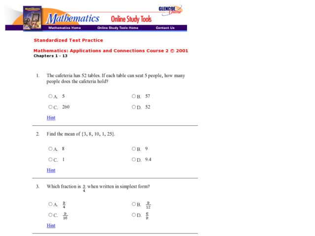 Test Practice Pre-Algebra Worksheet