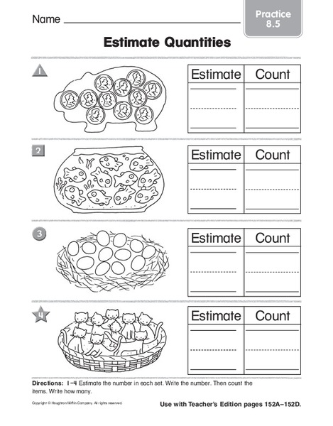 estimate quantities worksheet for kindergarten 1st grade lesson planet. Black Bedroom Furniture Sets. Home Design Ideas