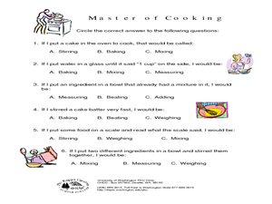 Master of Cooking Worksheet