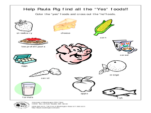 "Help Paula Pig Find All the ""Yes"" Foods! Worksheet"