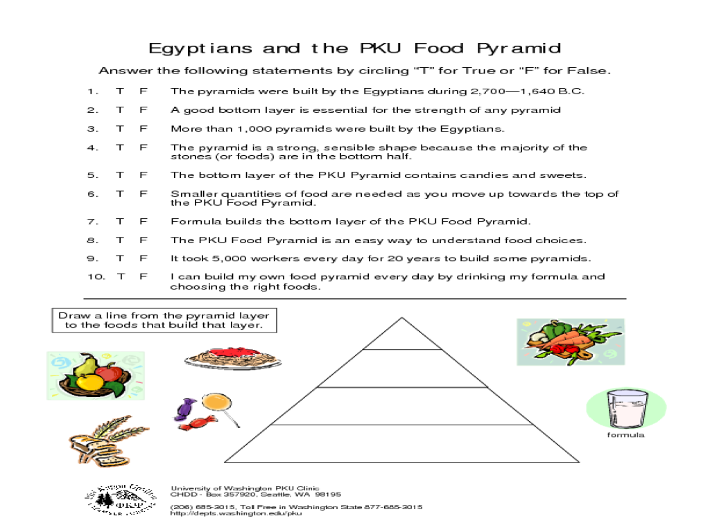 Egyptians And The Pku Food Pyramid Worksheet For 3rd Grade