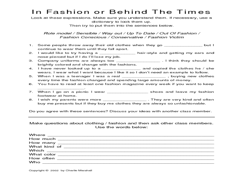 In Fashion or Behind The Times Lesson Plan