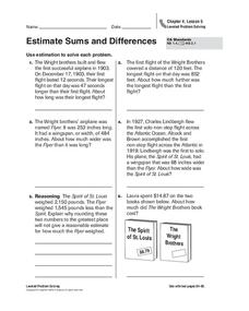 Estimate Sums and Differences Worksheet