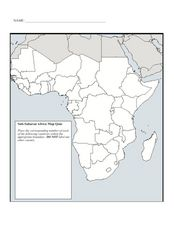Sub-Saharan Africa Map Quiz Graphic Organizer for 7th - 10th Grade ...