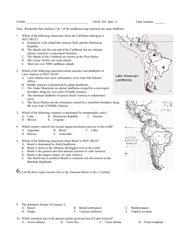 Geography Worksheet for 7th - 9th Grade | Lesson Planet