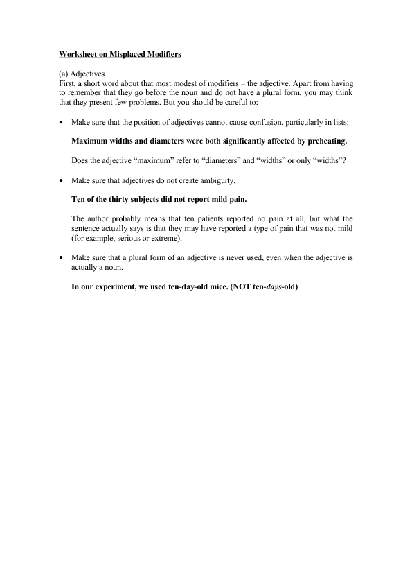 Worksheet On Misplaced Modifiers Worksheet For 4th 8th