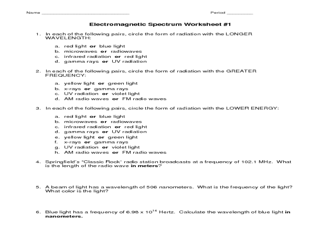 Electromagnetic Spectrum Worksheet Worksheet for 7th - 10th Grade