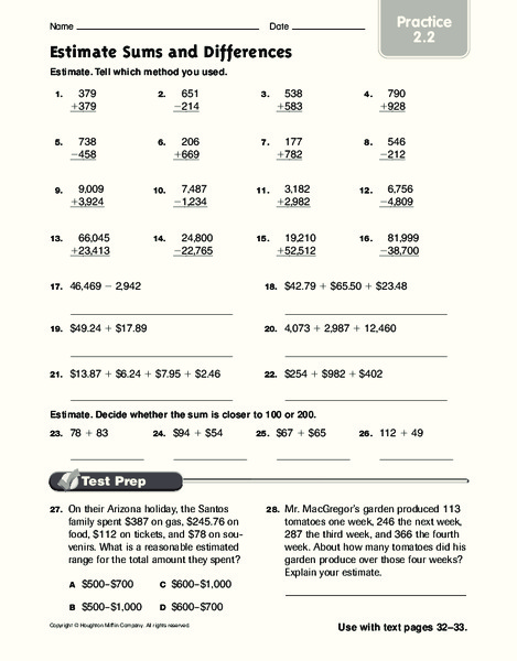 Estimate Sums and Differences: Practice Worksheet