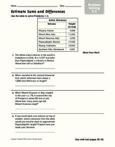 Estimate Sums and Differences: Problem Solving Worksheet