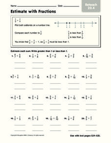 Estimate with Fractions Worksheet