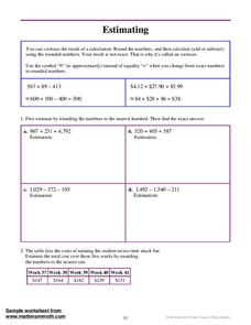 Estimating Worksheet